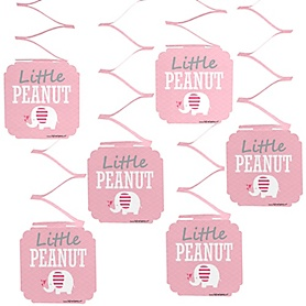 Pink Elephant -Girl Baby Shower or Birthday Party Hanging Decorations - 6 ct