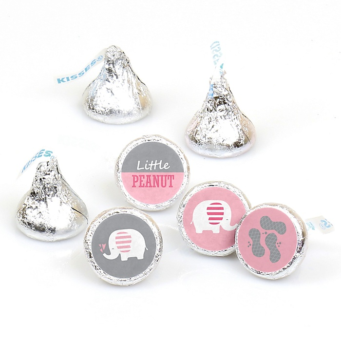 Pink Elephant - Girl Baby Shower or Birthday Party Round Candy Sticker Favors - Labels Fit Hershey's Kisses  - 108 ct