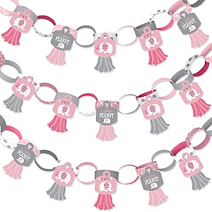 Pink Elephant - 90 Chain Links and 30 Paper Tassels Decoration Kit - Girl Baby Shower or Birthday Party Paper Chains Garland - 21 feet