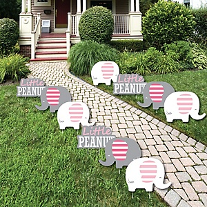 Pink Elephant - Lawn Decorations - Outdoor Girl Baby Shower or Birthday Party Yard Decorations - 10 Piece