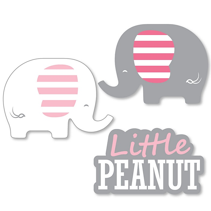 Pink Elephant - DIY Shaped Girl Baby Shower or Birthday Party Cut-Outs - 24 ct