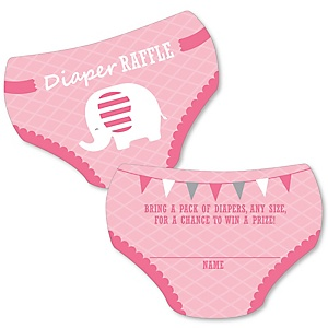 Pink Elephant - Diaper Shaped Raffle Ticket Inserts - Girl Baby Shower Activities - Diaper Raffle Game - Set of 24