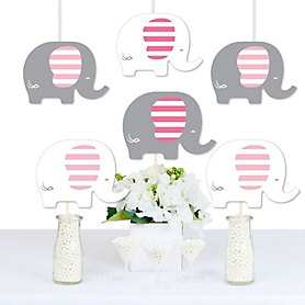 Pink Elephant - Decorations DIY Girl Baby Shower or Birthday Party Essentials - Set of 20