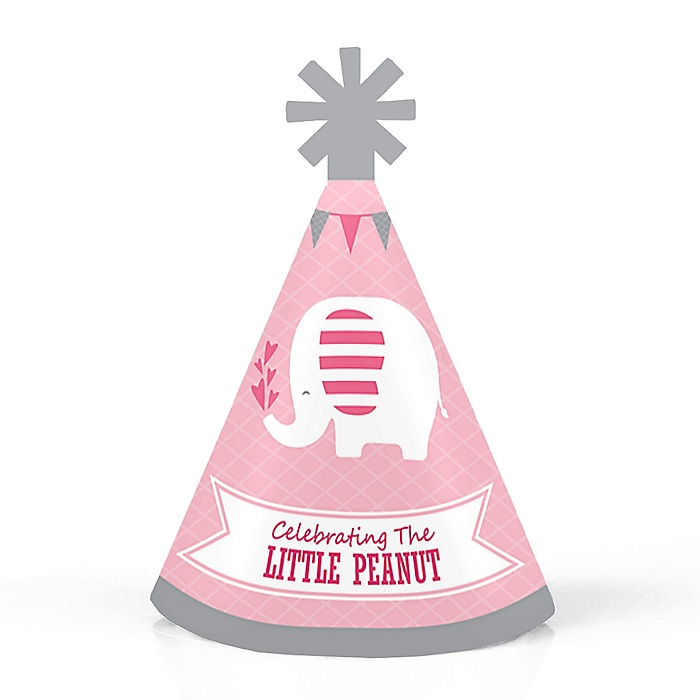 Pink Elephant - Personalized Mini Cone Girl Baby Shower or Birthday Party Hats - Small Little Party Hats - Set of 10