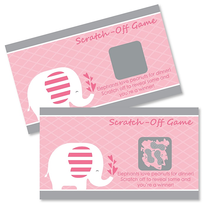 Pink Elephant - Girl Baby Shower or Birthday Party Scratch Off Cards - 22 Count