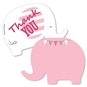 Pink Elephant - Shaped Thank You Cards - Girl Baby Shower or Birthday Party Thank You Note Cards with Envelopes - Set of 12