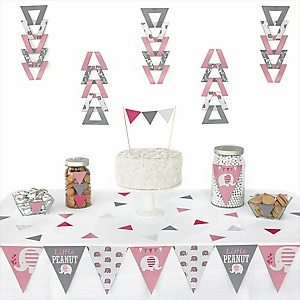 Pink Elephant - 72 Piece Triangle Party Decoration Kit