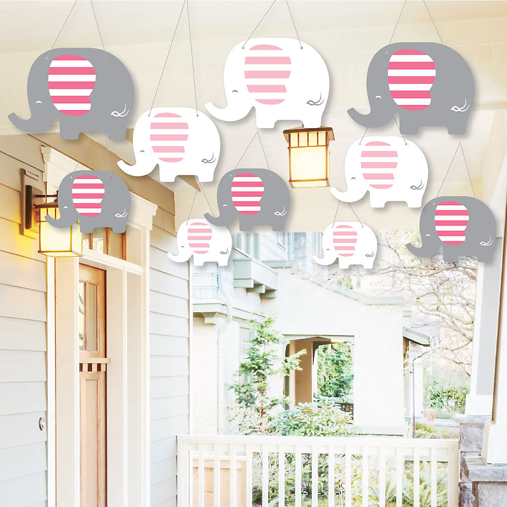 Hanging Pink Elephant Outdoor Girl Baby Shower Or Birthday Party Hanging Porch Tree Yard Decorations 10 Pieces