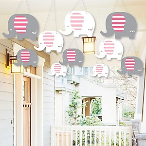 Hanging Pink Elephant - Outdoor Girl Baby Shower or Birthday Party Hanging Porch & Tree Yard Decorations - 10 Pieces