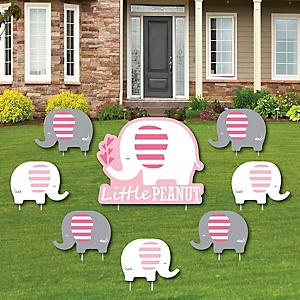 Pink Elephant - Yard Sign & Outdoor Lawn Decorations - Girl Baby Shower or Birthday Party Yard Signs - Set of 8