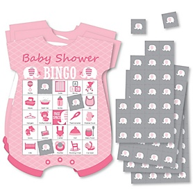 Pink Elephant - Picture Bingo Cards and Markers - Girl Baby Shower Shaped Bingo Game - Set of 18