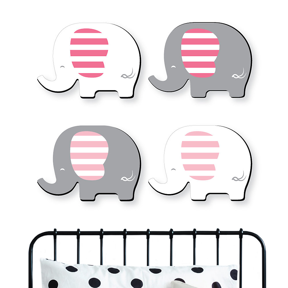 Pink Elephant Baby Girl Nursery And Kids Room Home Decorations Shaped Wall Art 4 Piece
