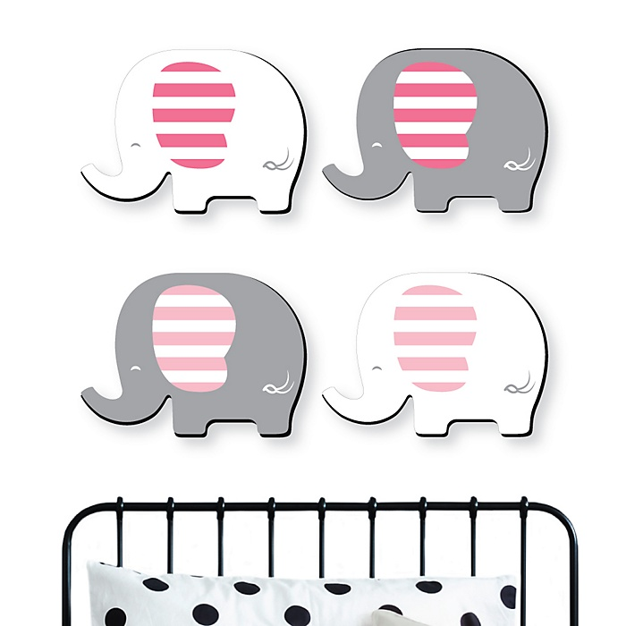 Pink Elephant - Baby Girl Nursery and Kids Room Home Decorations - Shaped Wall Art - 4 Piece