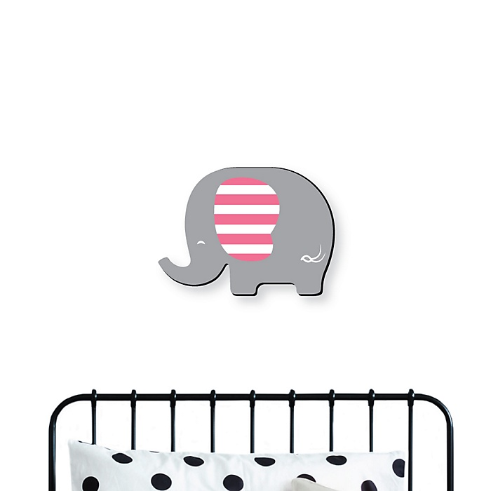 Pink Elephant - Baby Girl Nursery and Kids Room Home Decorations - Shaped Wall Art - 1 Piece