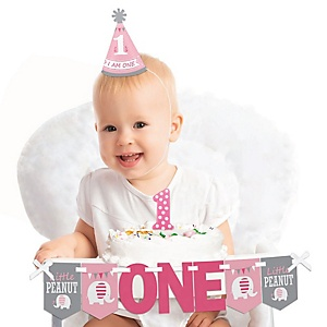 Pink Elephant 1st Birthday - First Birthday Girl Smash Cake Decorating Kit - High Chair Decorations