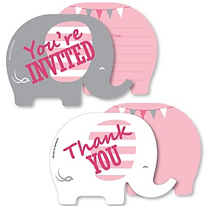 Pink Elephant - 20 Shaped Fill-In Invitations and 20 Shaped Thank You Cards Kit - Girl Baby Shower or Birthday Party Stationery Kit - 40 Pack