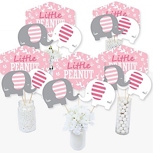 Pink Elephant - Girl Baby Shower or Birthday Party Centerpiece Sticks - Table Toppers - Set of 15