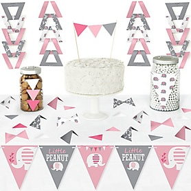 Pink Elephant - DIY Pennant Banner Decorations - Girl Baby Shower or Birthday Party Triangle Kit - 99 Pieces