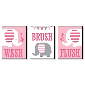 Pink Elephant - Kids Bathroom Rules Wall Art - 7.5 x 10 inches - Set of 3 Signs - Wash, Brush, Flush