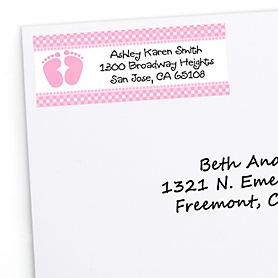 Baby Feet Pink - Personalized Baby Shower Return Address Labels - 30 ct