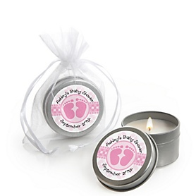 Baby Feet Pink  - Personalized Baby Shower Candle Tin Favors - Set of 12