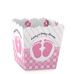 Baby Feet Pink - Party Mini Favor Boxes - Personalized Baby Shower Treat Candy Boxes - Set of 12