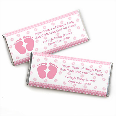 Baby Feet Pink   Personalized Baby Shower Candy Bar Wrapper Favors