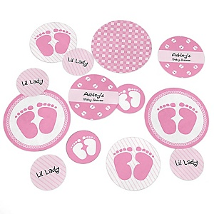 Baby Feet Pink  - Personalized Baby Shower Giant Circle Confetti - Girl Baby Shower Decorations - Large Confetti 27 Count