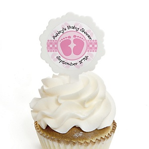 Baby Feet Pink - 12 Cupcake Picks & 24 Personalized Stickers - Baby Shower Cupcake Toppers