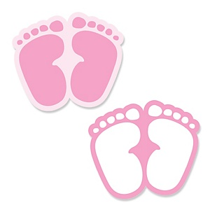Baby Feet Pink - Shaped Baby Shower Paper Cut-Outs - 24 ct