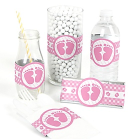 Baby Feet Pink - DIY Party Wrappers - 15 ct
