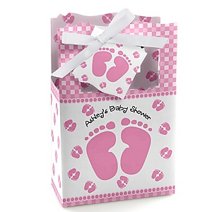 Baby Feet Pink - Personalized Baby Shower Favor Boxes - Set of 12