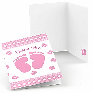 Baby Feet Pink - Baby Shower Thank You Cards - 8 ct
