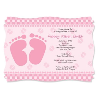 Baby Feet Pink Personalized Baby Shower Invitations
