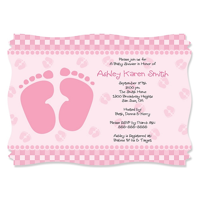 Baby Feet Pink - Personalized Baby Shower Invitations - Set of 12