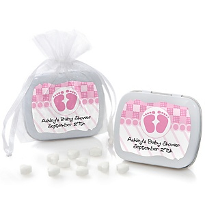 Baby Feet Pink - Personalized Baby Shower Mint Tin Favors