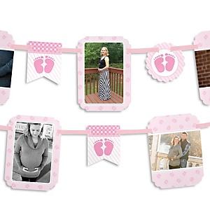 Baby Feet Pink - Baby Shower Photo Garland Banners