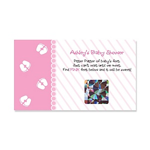 Baby Feet Pink - Personalized Baby Shower Game Scratch Off Cards - 22 ct