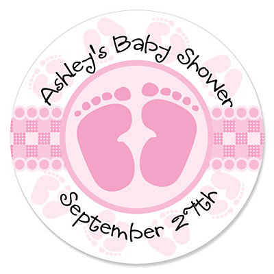 baby feet pink personalized baby shower sticker labels 24 ct