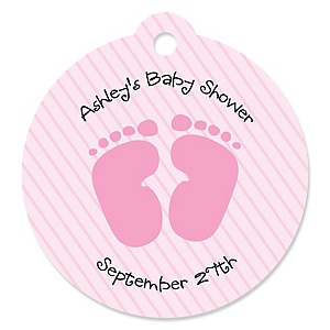 Baby Feet Pink - Round Personalized Baby Shower Die-Cut Tags - 20 ct