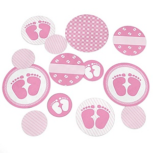 Baby Feet Pink  - Baby Shower Giant Circle Confetti - Girl Baby Shower Decorations - Large Confetti 27 Count