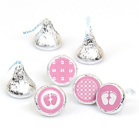Baby Feet Pink - Round Candy Labels Party Favors - Fits Hershey's Kisses - 108 ct