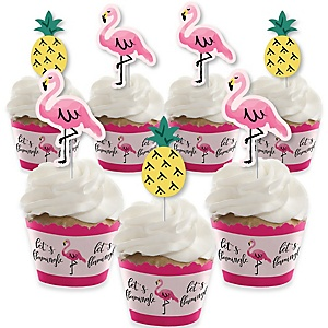 Pink Flamingo - Party Like a Pineapple - Cupcake Decorations - Baby Shower or Birthday Party Cupcake Wrappers and Treat Picks Kit - Set of 24