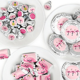 Pink Flamingo - Party Like a Pineapple - Mini Candy Bar Wrappers, Round Candy Stickers and Circle Stickers - Tropical Summer Party Candy Favor Sticker Kit - 304 Pieces