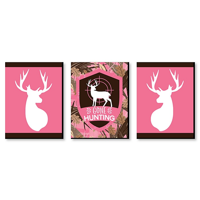 Pink Gone Hunting - Deer Hunting Decorations, Camo Wall Art and Man Cave Decor - 7.5 x 10 inches - Set of 3 Prints