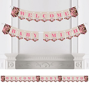 Pink Gone Hunting - Personalized Deer Hunting Girl Camo Baby Shower Bunting Banner and Decorations
