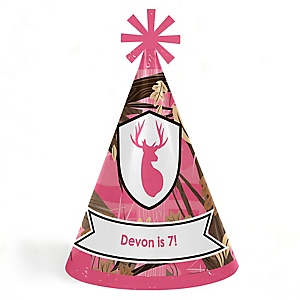 Pink Gone Hunting - Personalized Cone Happy Birthday Party Hats for Kids and Adults - Set of 8 (Standard Size)