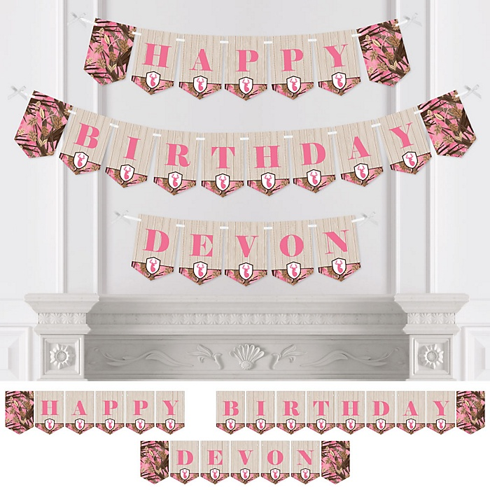 Pink Gone Hunting - Personalized Deer Hunting Girl Camo Birthday Party Bunting Banner and Decorations