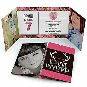 Pink Gone Hunting - Personalized Deer Hunting Girl Camo Birthday Party Photo Invitations - Set of 12