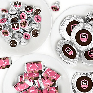 Pink Gone Hunting - Mini Candy Bar Wrappers, Round Candy Stickers and Circle Stickers - Deer Hunting Girl Camo Baby Shower or Birthday Party Candy Favor Sticker Kit - 304 Pieces